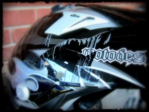 Cracked Motorycle Helmet
