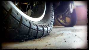 Cracked motorcycle tire